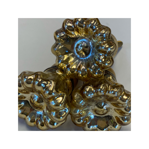 Knobs - Gold Metallic Flower