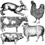 "IOD Farm Animals Decor Stamps 12"" x 12"""