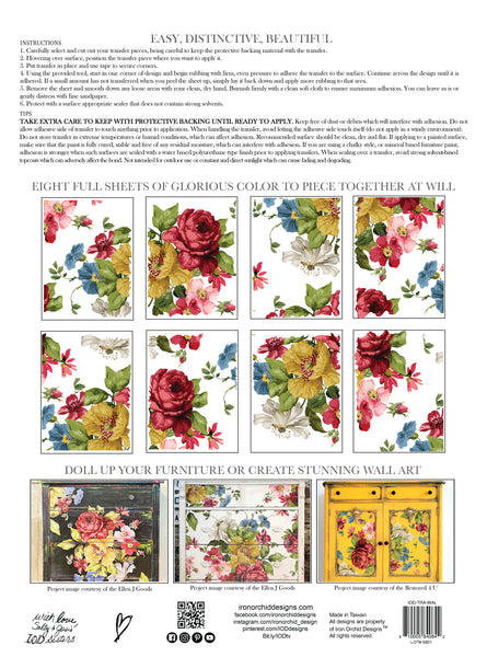 IOD Wall Flower Decor Transfer, 4 12x16 sheets