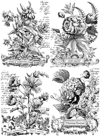 "IOD Classic Bouquets Paintable Decor Transfer 24"" x 33"""