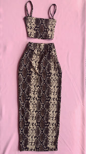 Snakeskin Crop Top & Maxi Skirt