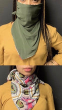 Load image into Gallery viewer, Double Sided Pink Print/Olive Scarf Mask