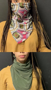 Double Sided Pink Print/Olive Scarf Mask