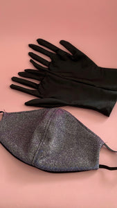Glitter/Pink mask & Black Lycra gloves