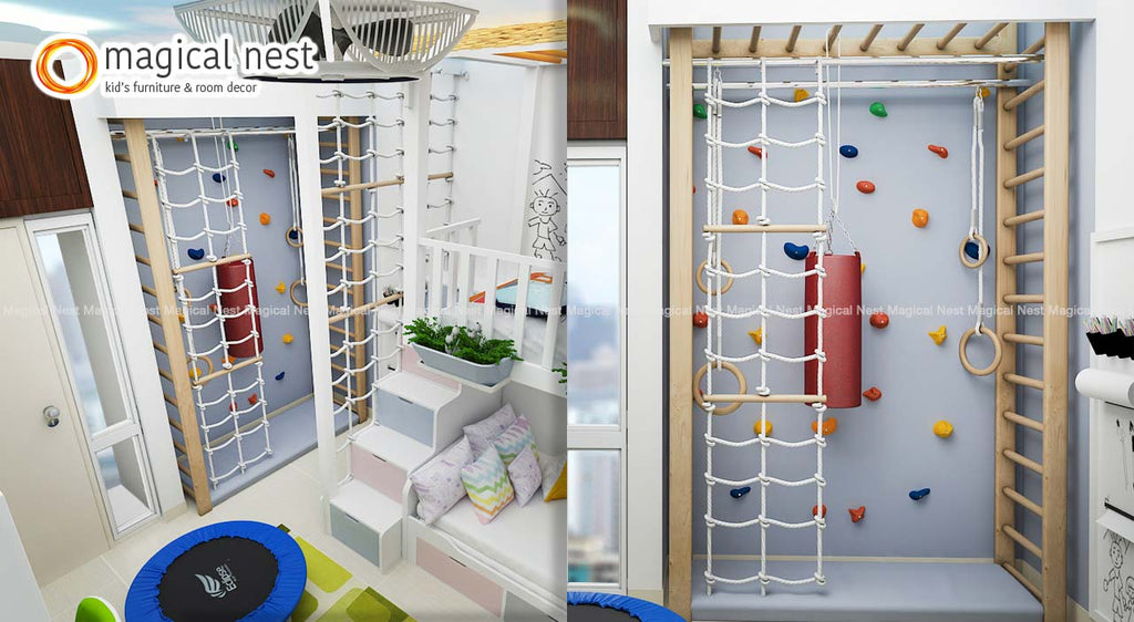 Kids climbing wall, ladder and ropes inside a room