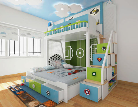 Football themed same level trundle bunk bed