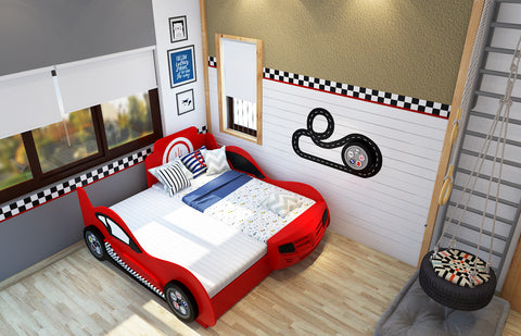 Same level trundle car bed in red colour