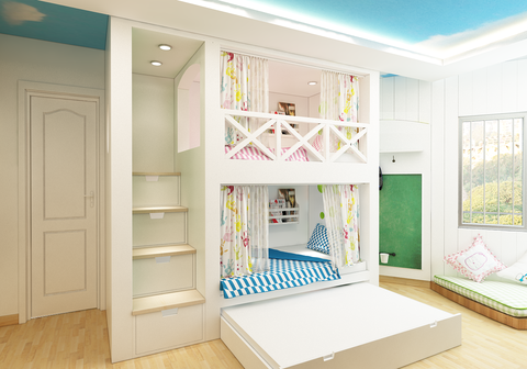 Conventional trundle bunk bed
