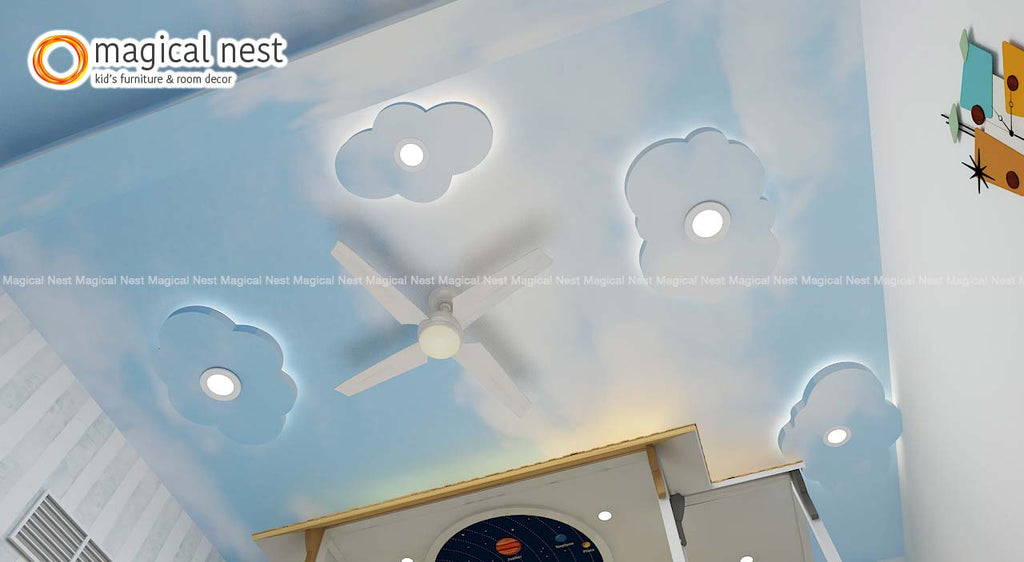 Blue Skies with POP Clouds on ceiling inside kid's room