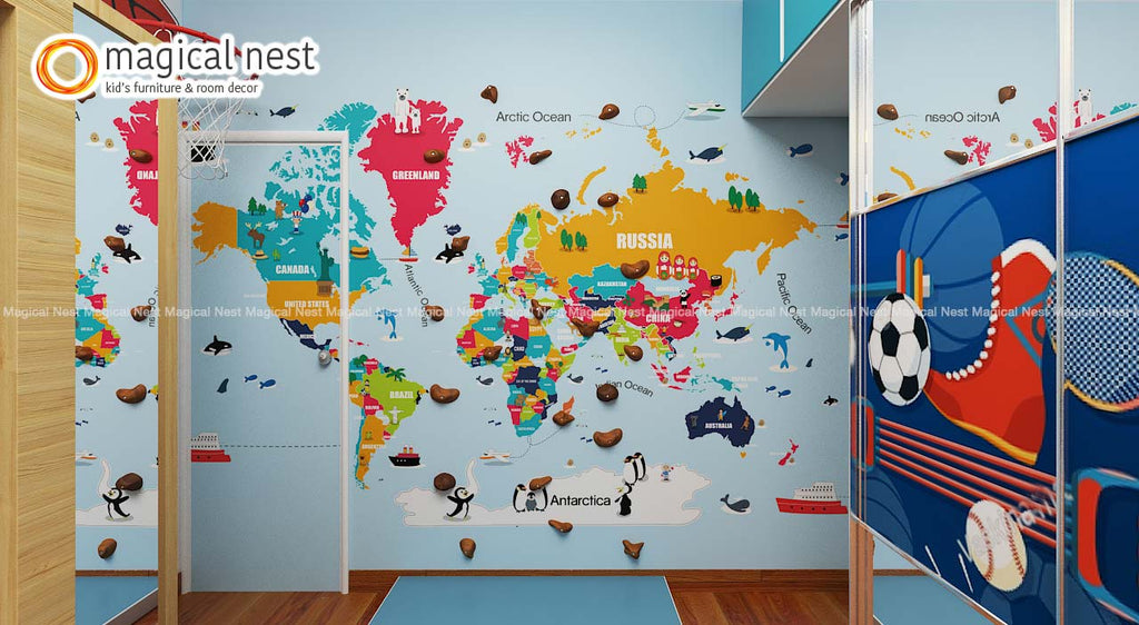 world map with climbing decor on a wall inside kids room