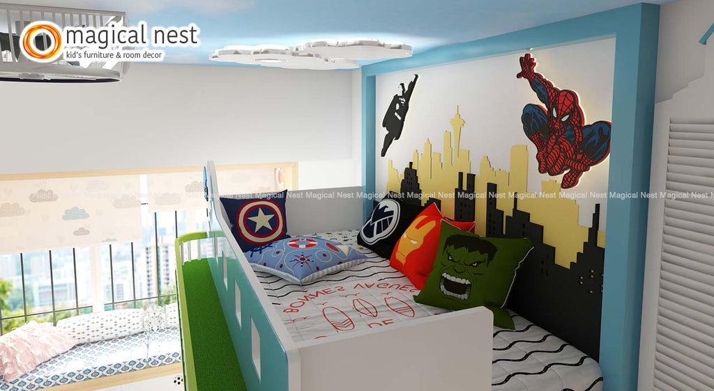 superhero themed wall decor with spiderman and superman inside kids room