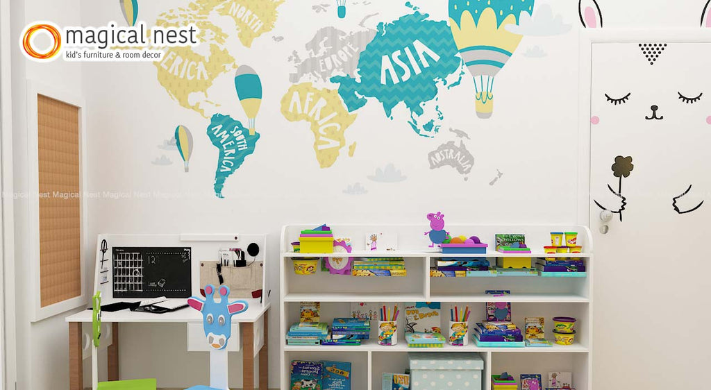 world adventure map wall decor in kids room