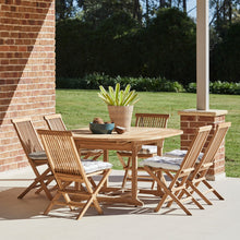 Load image into Gallery viewer, Teak-Round-outdoor-table-setting-classic-r1