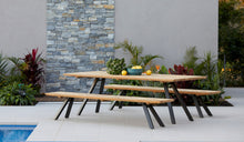 Load image into Gallery viewer, teak-aluminium-outdoor-dining-miami-bench-setting-r2