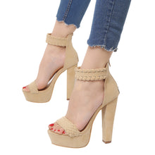 Load image into Gallery viewer, Women Ladies Sandals Waterproof Super High Heels Party Ankle Square Heel Shoes