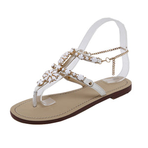 Womens Summer Flat Shining Rhinestones Chain Sandals T-strap Comfortable Shoes