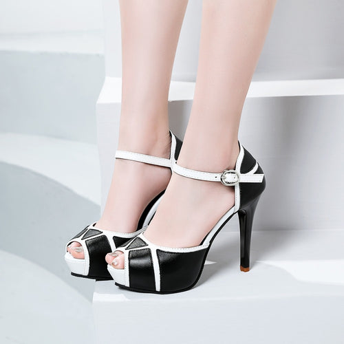 Fashion Women Thick Bottom Slope Mixed Colors Buckle Strap Sandals High Heels