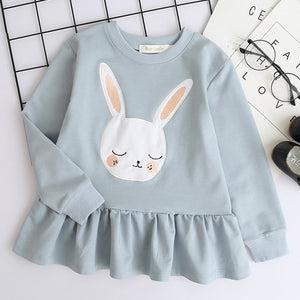 Bear Leader Girls Dress New Brand Baby Girls Blouse Rabbit Ears Hooded Ruched Long Sleeve Children Clothing Dress Girls Clothes