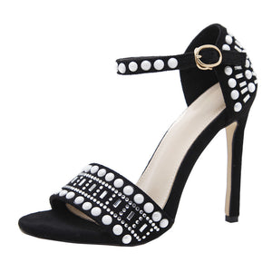 Summer Women Sexy Ankle-Strappy Black Simple 11cm Wedding High Heels Sandals