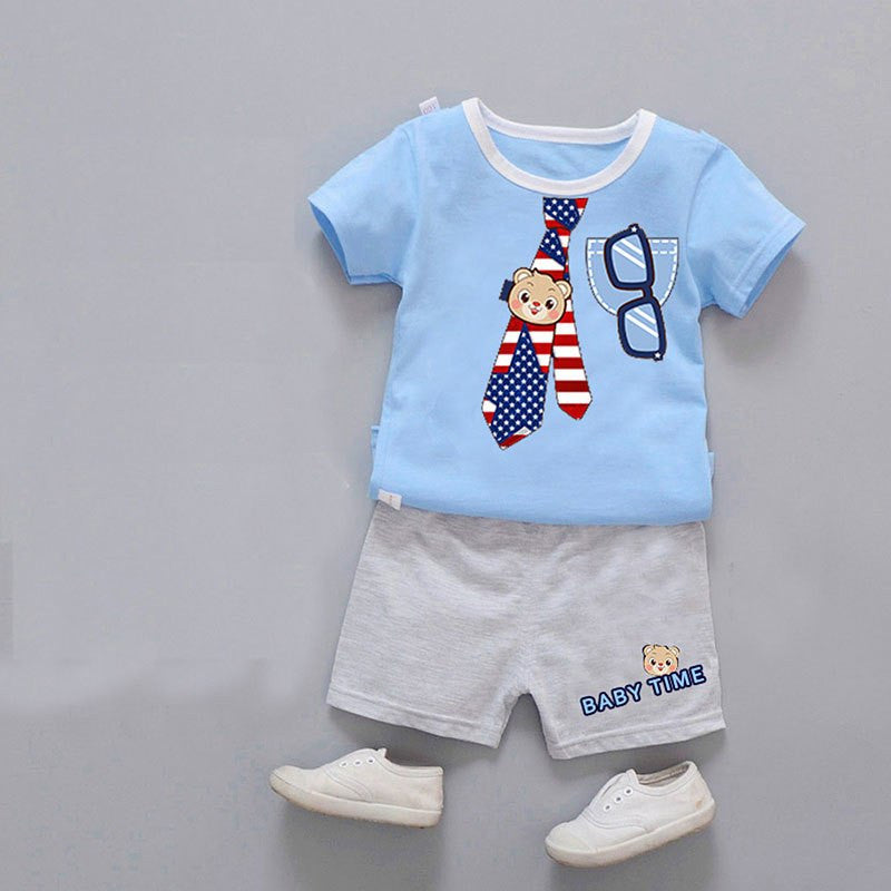 Baby boy summer clothes  boys sets  boy fashion 2pcs children clothing set Cotton Boys Cartoon Bear  T-shirt + Shorts summer