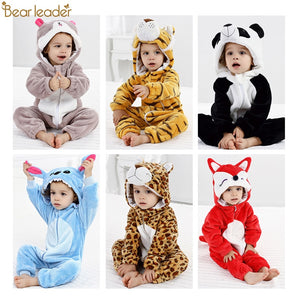 Bear Leader Baby Rompers Autumn Winter new Baby Girls Clothes Flannel cartoon animals Kids Clothes Toddler Jumpsuit boys Rompers
