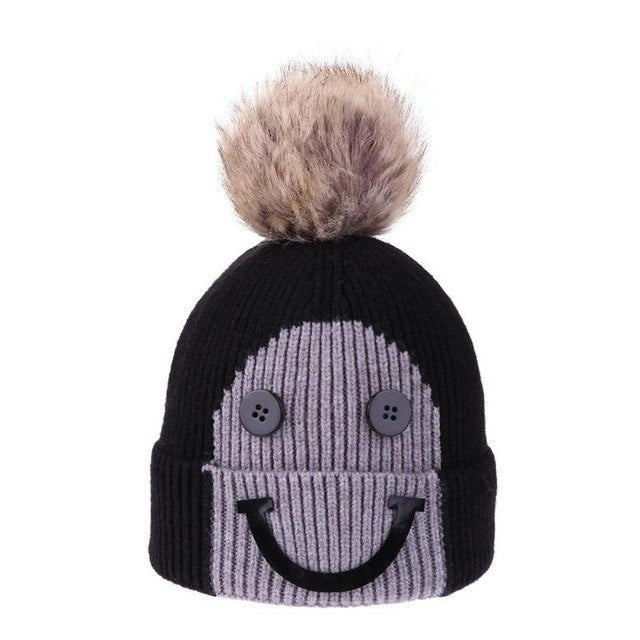 Christmas Winter Baby Warm Hats Fashion Kids Boys Girls Hair Ball Hat Children Smile Face Knitted Button Beanie Cap