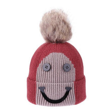Load image into Gallery viewer, Christmas Winter Baby Warm Hats Fashion Kids Boys Girls Hair Ball Hat Children Smile Face Knitted Button Beanie Cap