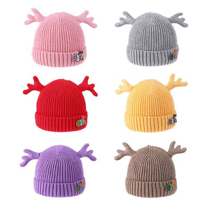 Baby Christmas Dear Antler Hat for Girls Boys Baby Cap Double Thick Warm Caps Knitted Caps Winter Children's Hats Gifts