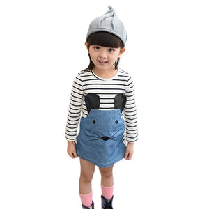 Dress For Girls Baby Girls Clothes Stripes Stitching Cowboy Cartoon Animal Children's Clothing Girl Dress Baby Clothes