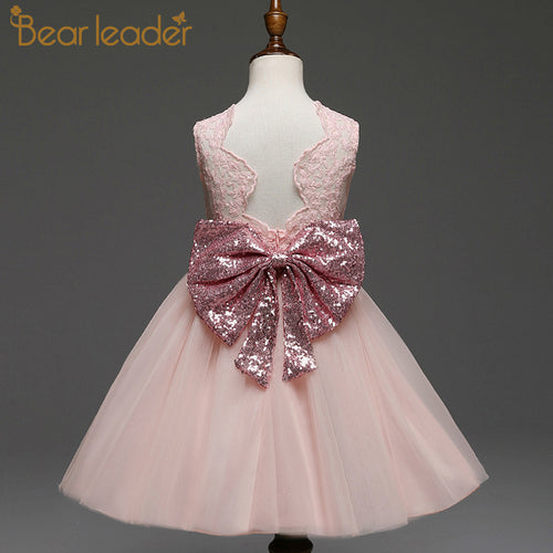 Bear Leader Girls Dresses 2018 New Brand Princess Girls Clothes Bowknot Sleeveless Party Dress Kids Dress for Girls 1-6 Years