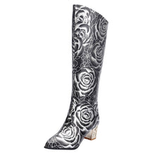 Load image into Gallery viewer, Pointed Women's High Tube Boots Retro Print High Heels Back Zipper Ladies Boots