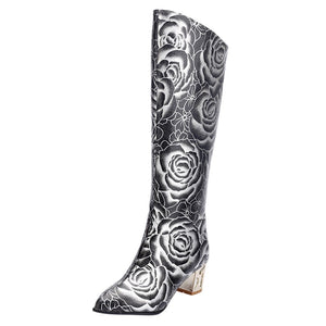 Pointed Women's High Tube Boots Retro Print High Heels Back Zipper Ladies Boots