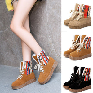 Winter Leisure Women's Keep Warm Thick Bottom Shoes Round Toe Lace-Up Snow Boots