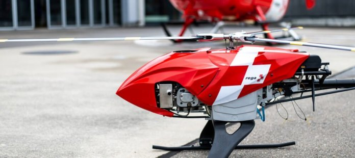 HEMS drone avoids traffic autonomously with FLARM