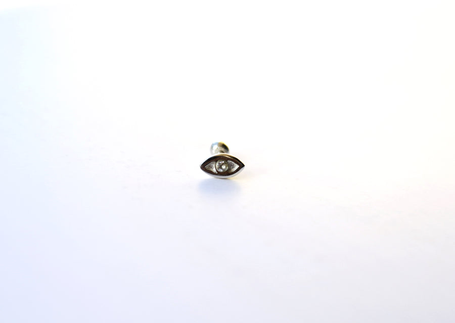 MINI GIGI EYE WHITE PIERCING IN SILVER