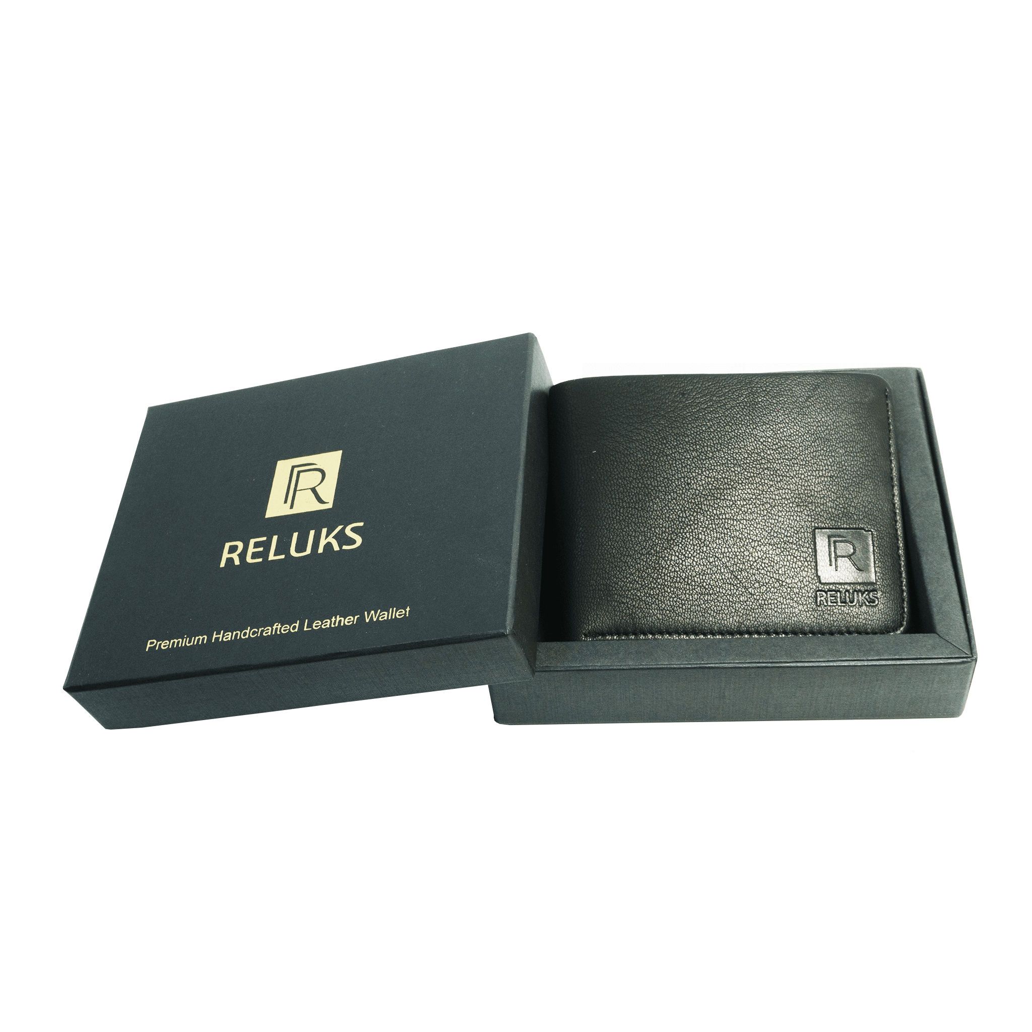 Handcrafted genuine black leather wallet with box for men by RELUKS