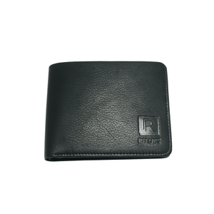 Handcrafted genuine black leather wallet's front by RELUKS