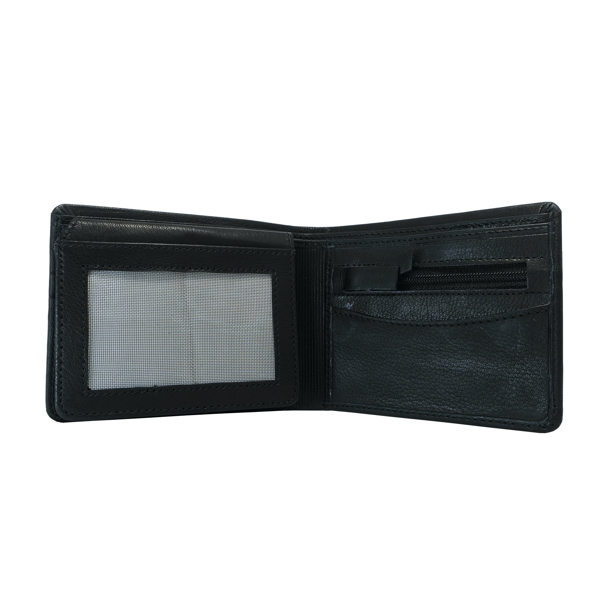 Handcrafted genuine black leather open wallet by RELUKS