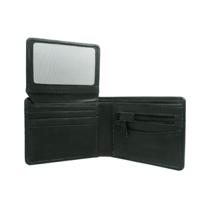 Handcrafted genuine black leather wallet's open view by RELUKS