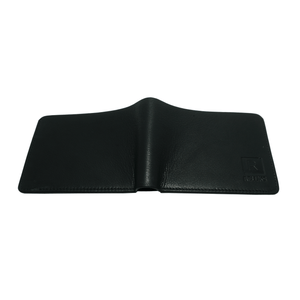 Handcrafted genuine black leather wallet's back by RELUKS