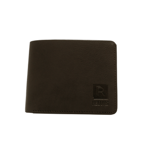Handcrafted genuine leather brown wallet's front view by RELUKS