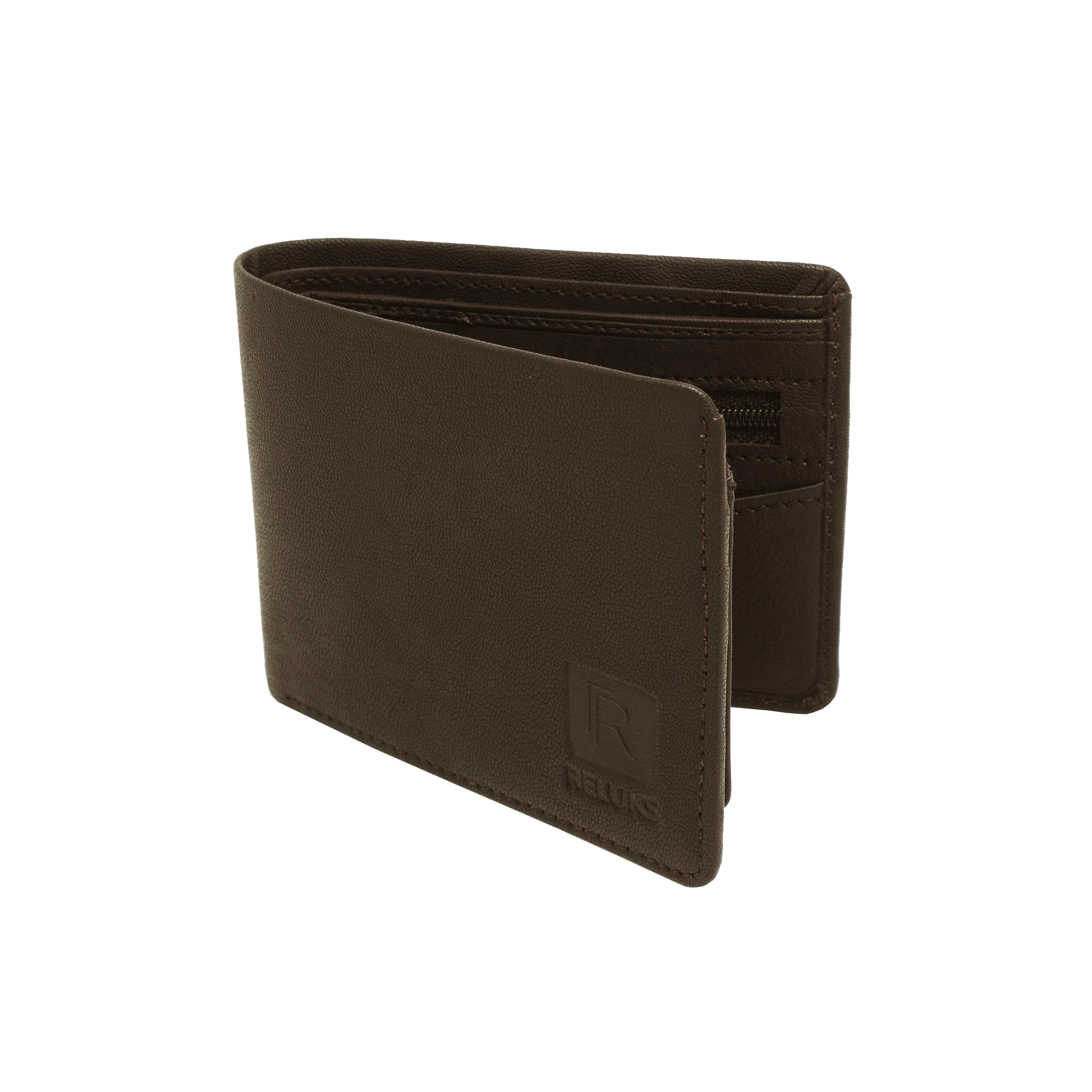 Handcrafted genuine leather brown wallet's fold view by RELUKS