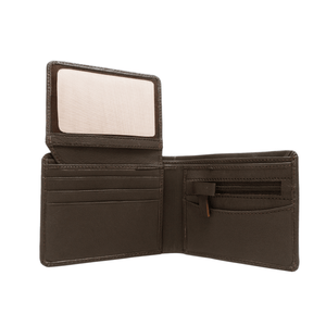 Handcrafted genuine leather brown wallet's inside view by RELUKS