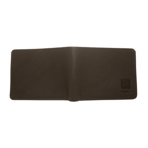 Handcrafted genuine leather brown wallet's back view by RELUKS