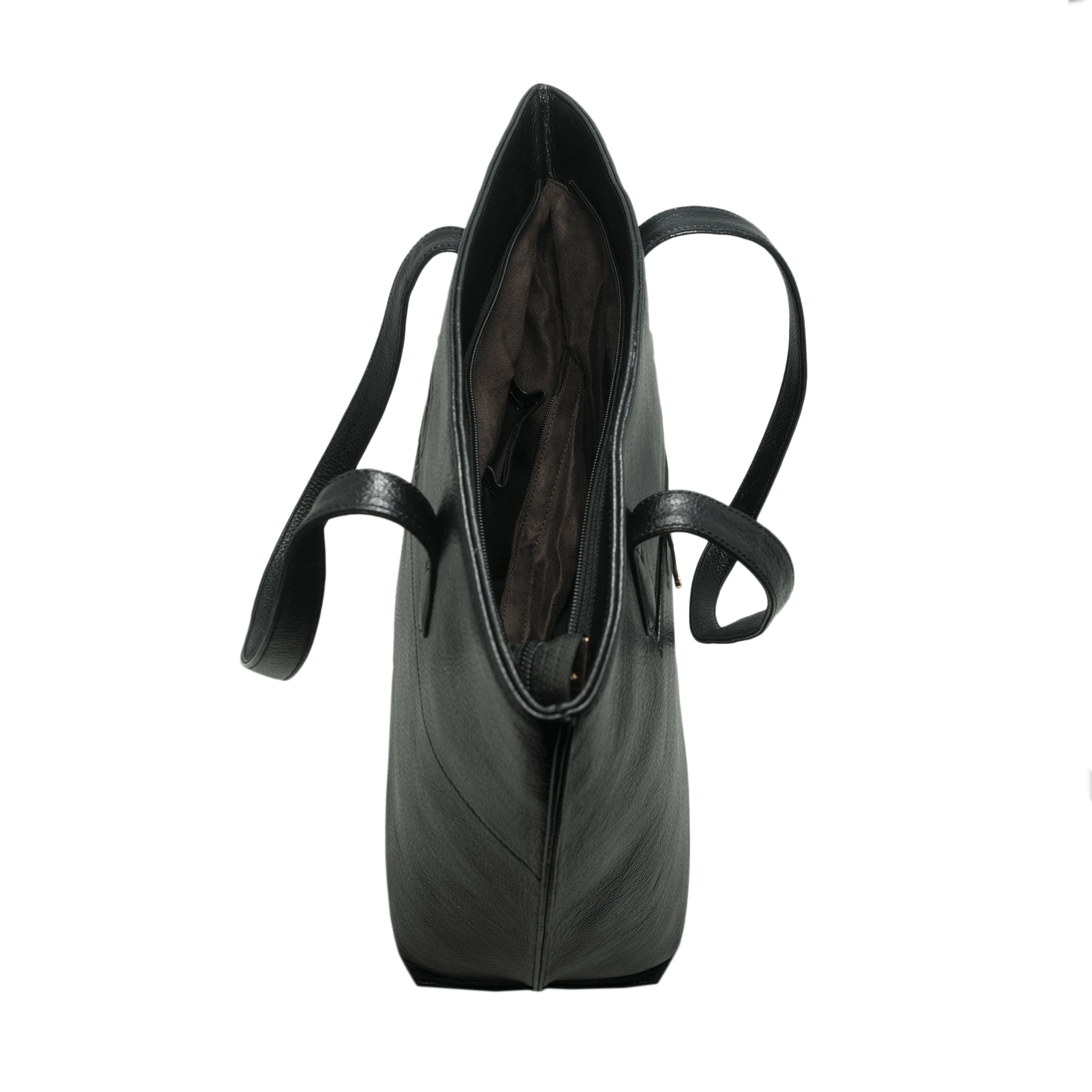 Handcrafted genuine black leather shoulder bag top view with open zip pocket for women by RELUKS