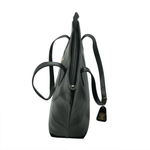Handcrafted genuine black leather shoulder bag top view with close zip pocket for women by RELUKS