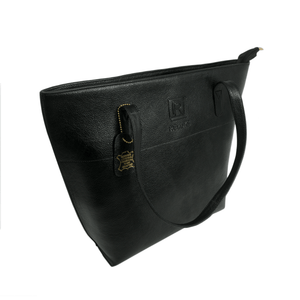 Handcrafted genuine black leather shoulder bag side view for women by RELUKS