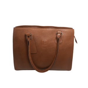 Handcrafted tan brown leather shoulder bag front view for women by RELUKS