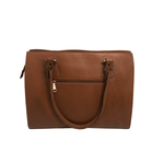 Handcrafted tan brown leather shoulder bag back view for women by RELUKS
