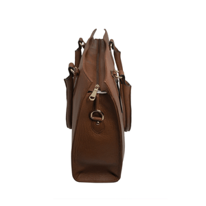 Handcrafted tan brown leather shoulder bag top view for women by RELUKS